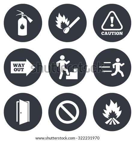 Fire safety, emergency icons. Fire extinguisher, exit and attention signs. Caution, water drop and way out symbols. Gray flat circle buttons. Vector