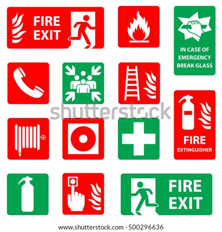 Fire safety icon set. Fire danger & equipment sign collection. Meeting point. emergency assembly point, in case of emergency break glass, first aid symbols. Vector illustration.