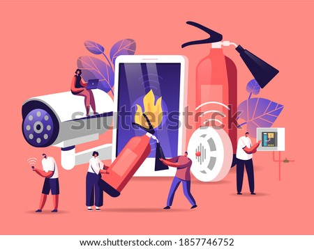 Fire Safety System Concept. People Get Notification from Smartphone about Fire Accident. People with Extinguisher, Electrician Examine Working Draft or Measure Voltage. Cartoon Vector Illustration Foto stock ©
