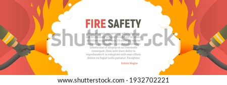 Fire safety vector web banner. Precautions the use of fire background template. Firefighters fights a fire cartoon flat design. Natural fires and disasters illustration
