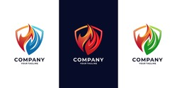 Fire shield, icon Oil, gas and energy logo