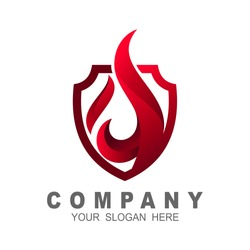 Fire shield logo design element. Fire warning sign shield