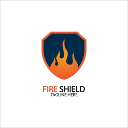 Fire shield logo design element. Fire warning sign shield. Fire flame vector illustration on white background