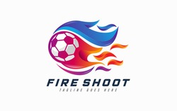 Fire Shoot Logo Design. Abstract Soccer Ball Combination With Colorful Fire Concept Symbol Design.