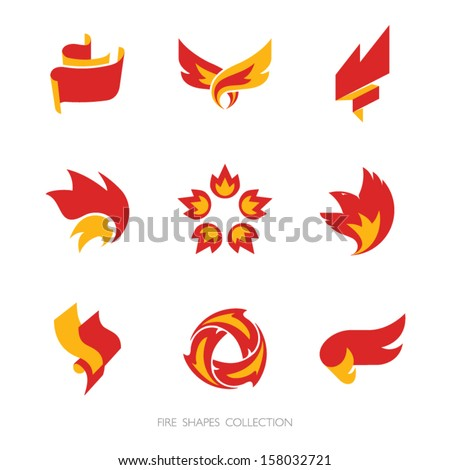 fire signs vector icons set