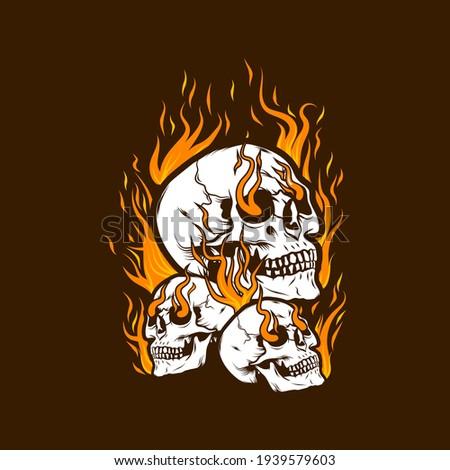 fire skull head design