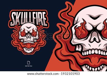 fire skull mascot esport logo