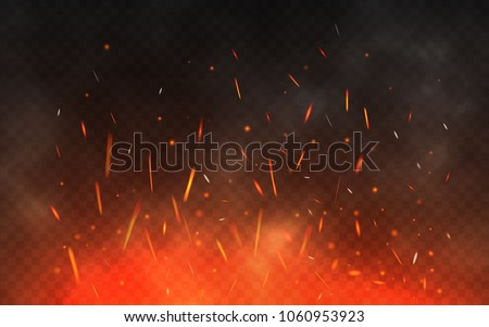 Fire sparks flying up. Glowing particles on a transparent background. Realistic fire and smoke. Red and yellow light effect. Vector illustration.