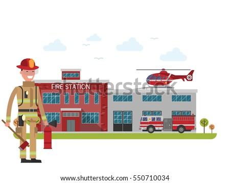 fire station. firefighter....