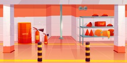 Fire station or garage empty interior, utility room with steel pole, signaling, water barrel, sand box, fire extinguishers, cone buckets, hoses on shelf, room inner design. Cartoon vector illustration