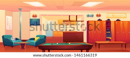 Fire station recreation room, empty interior with steel pole, billiard table, kitchen area, armchairs, tv, lockers with uniform, signaling, place for firefighters leisure, Cartoon vector Illustration