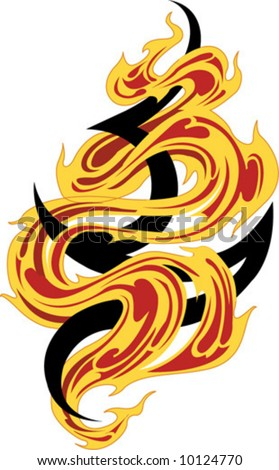 stock vector : Fire tribal tattoo