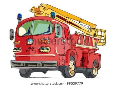 fire truck - cartoon