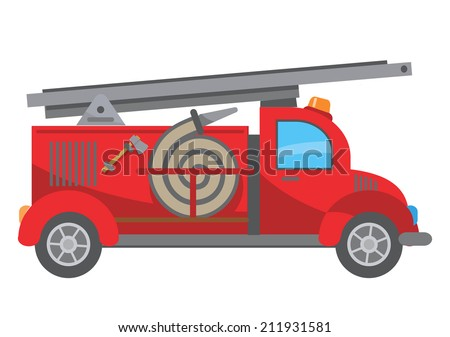 Fire truck cartoon Stylized drawing of Fire Truck Vector illustration
