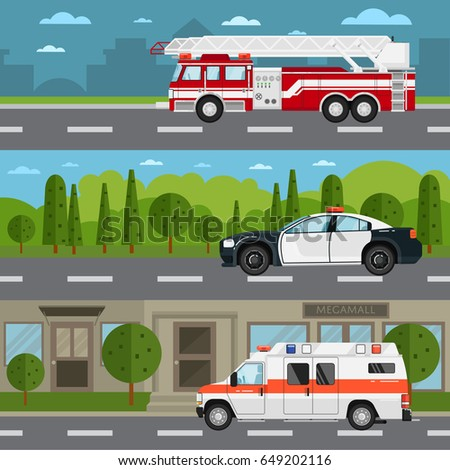 Fire truck, police and ambulance car on highway. Service auto vehicle, public and emergency transport, urban roadside assistance. Road traffic in countryside and cityscape vector illustration