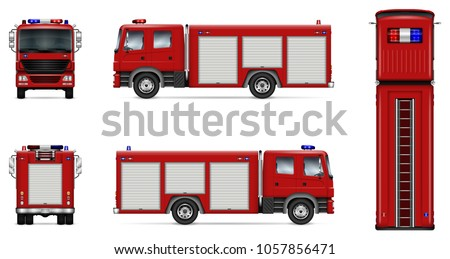 Fire truck vector mock-up. Isolated template of red lorry on white. Vehicle branding mockup. Side, front, back, top view. All elements in the groups on separate layers. Easy to edit and recolor.