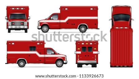 Fire truck vector mockup on white background. Isolated template of rescue van for vehicle branding, corporate identity. View from side, front, back, and top, easy editing and recolor.