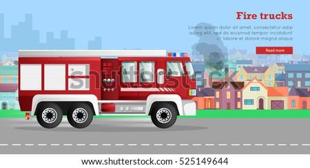 fire trucks banner modern fire