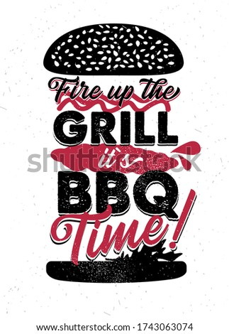 Fire Up the Grill - It`s Bbq Time. Hand drawn typography poster. Vector Typography. Foto stock ©