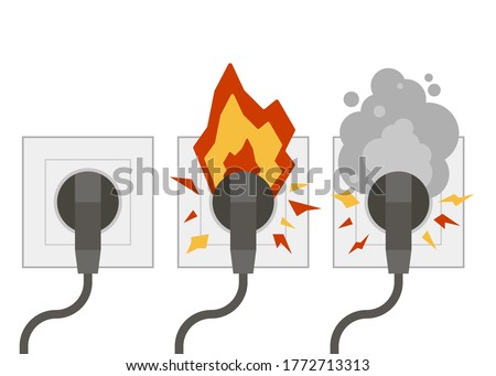 Fire wiring. Electric circuit of cable with fire, smoke, sparks. Set of sockets with cords. Socket and plug on fire from overload. Short circuit electrical circuit. Broken electrical connection.Vector