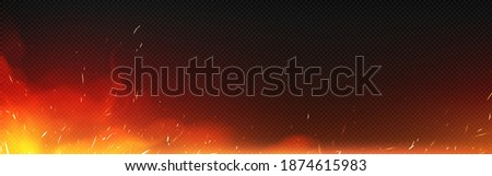 Fire with sparks and smoke isolated on transparent background. Vector realistic illustration of hot blaze with flying sparkles and burning particles from bonfire, ignition or blacksmith stove Foto stock ©