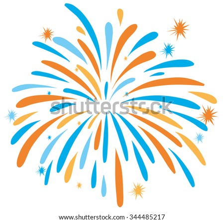 Fire work in orange and blue color illustration