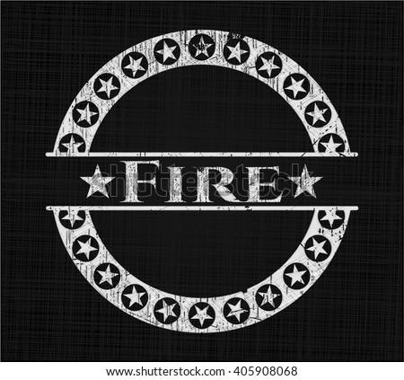 Fire written on a blackboard