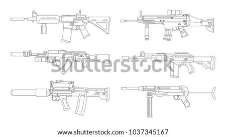 Firearms, Shooting gun, Weapon illustration, Vector Line, Gun illustration, Modern Gun, Military concept