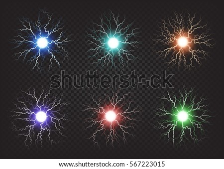 Fireballs colourful set on dark transparent background. Six blue, red, green, orange and violet bright ball with some non straight cracks. Decorative illuminating fire burning elements for celebration