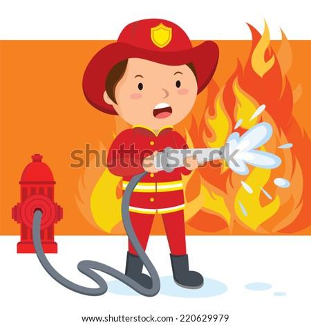 firefighter a fireman spraying
