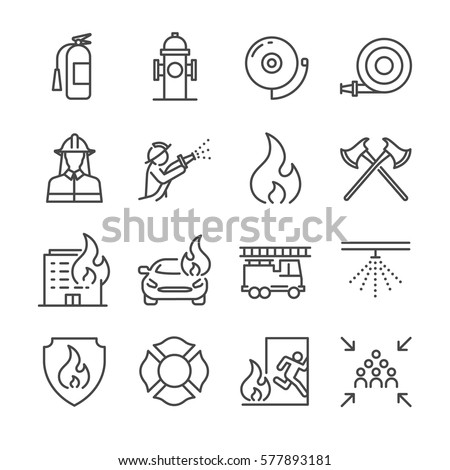 Firefighter and Fire department icon set. Included the icons as fire, fireman, burn, emergency, hydrant, alarm and more.