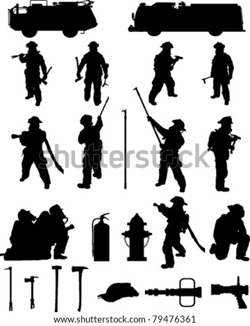 Firefighter booster pack 1, various firefighting positions,  with equipment. For more firefighting please see my profile