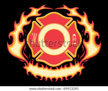Firefighter Cross Symbol with Flaming Banner is a six spot color vector illustration on black background. Design elements are layered for easy editing and separating.