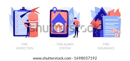 Firefighter equipment, notification technology control. Real estate damage compensation. Fire inspection, fire alarm system, fire insurance metaphors. Vector isolated concept metaphor illustrations