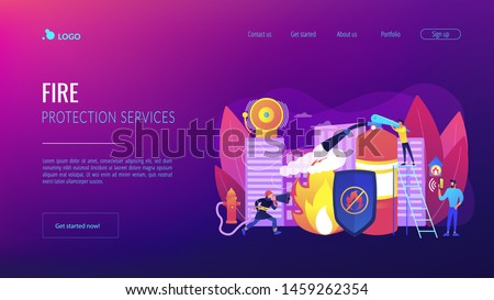 Firefighter extinguishing flame character. Rescuer dangerous job. Fire protection, fire prevention technologies, fire protection services concept. Website homepage landing web page template.