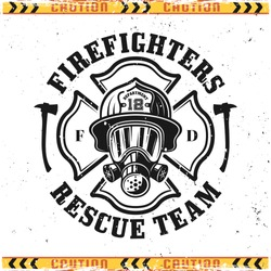 Firefighter head in gas mask vector emblem, badge, label or logo in vintage style isolated on background with grunge textures on separate layers