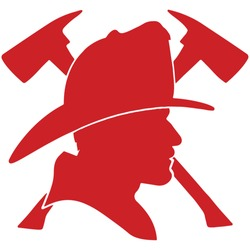 Firefighter head with helmet and two axes