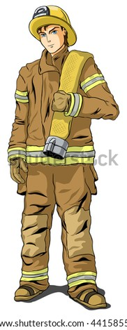 firefighter in shape on a white