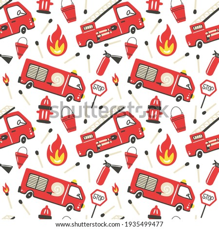 Firefighter seamless pattern. Fire truck with ladder extinguisher and hose. Hand drawn cartoon trendy scandinavian childish doodle cars. Decor textile, wrapping paper wallpaper vector print or fabric Photo stock ©