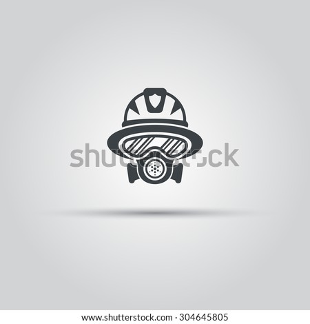 Firefighter silhouette face icon, fireman in gas mask avatar