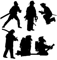 Firefighter Silhouette on white background