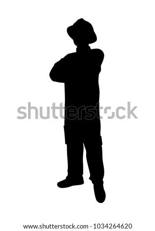 Firefighter silhouette vector