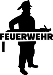 Firefighter silhouette with german job title