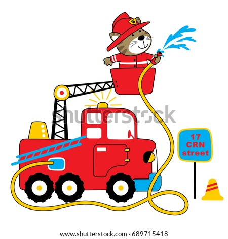 firefighter vector cartoon