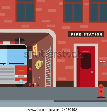 Firefighter vector icon set. A collection of fire themed symbols including firefighter, fire truck and fireman, , attributes, sets fire brigade. Vector eps10 illustration. #362301521