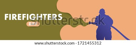 Firefighters day vector flat colorful concept. A fireman in uniform extinguishes a fire with a foam hose.