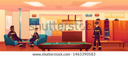 Firefighters in fire station recreation room interior, people relaxing in place for leisure with steel pole, billiard table, kitchen area, armchairs, tv, lockers, signaling. Cartoon vector Illustration