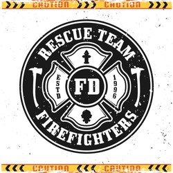 Firefighters rescue team vector round emblem, badge, label or logo in vintage style isolated on background with grunge textures on separate layers