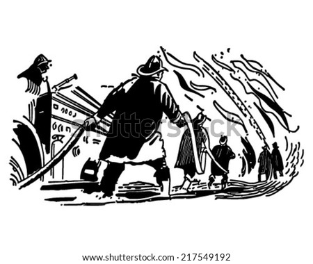 Firefighters - Retro Clipart Illustration
