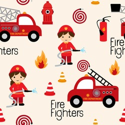 Firefighters seamless pattern with fire related icons specially for fabric patterns